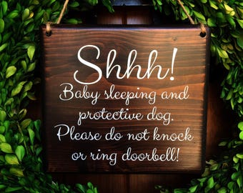 Baby Sleeping Sign | 7x8 | Protective Dog Sign | No Soliciting | Sleeping Baby Sign | Do Not Disturb Sign | Barking dog Sign | Sleeping baby