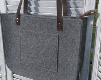 Grey felt tote bag, Felt Bag,with zipper, Large Tote, For Shopping, Genuine Leather Handles, Tote Bag, Tote Felt, shoulder bag, Handbag