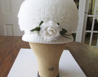 Vintage White Bouffant Hat Valerie Modes Easter Spring Summer WOW!