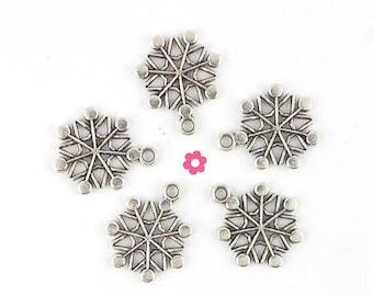 x 10 snowflake charms snow Christmas silver 16x16mm (235D)
