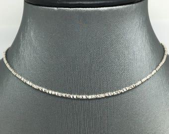 18K White Gold Diamond Cut Chain