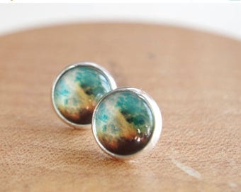 Sale Stardust Earring Studs  Green Space Jewelry Galaxy Studs Nebula Earrings Minimalist Jewelry Post  Earrings Nebula Christmas gift Annive