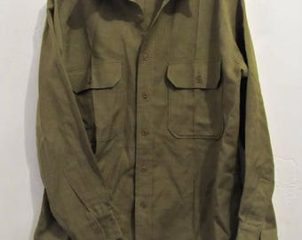 A Vintage IKE era WWII Long Sleeve Wool Army Shirt.15.5-33 (As Is)