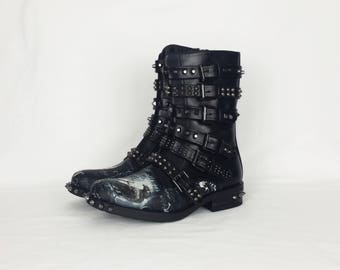 Raven, crow, goth skull boots, women boots, alternative, clothing, boots, studs shoe, rock your sole, custom shoes, gothic boots, black boot