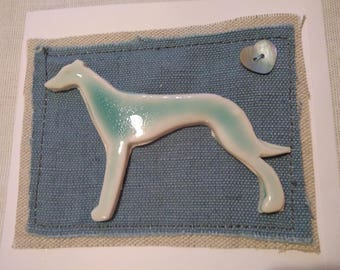 Porcelain Lurcher/Greyhound greetings card