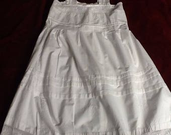Beautiful antique french petticoat with crocheted lace hem and bodice. Intricate, detailed needlework, nightdress or dess in small-medium.