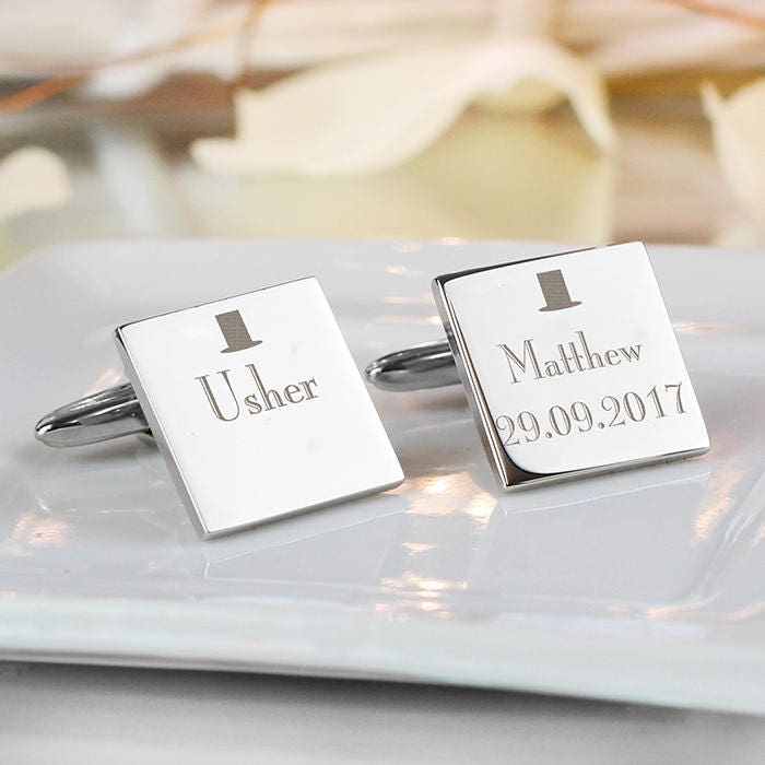 Usher Cufflinks Personalised Engraved Wedding Gifts Best Man Groomsman For Him