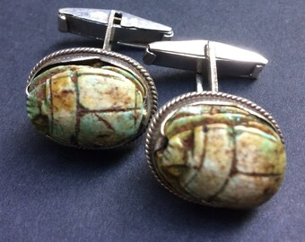 Silver scarab beetle cufflinks - Ancient Egypt - Pharaonic - elegant and unusual