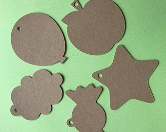 20 Star/Balloon/Apple/Candy/Cloud Shaped tags