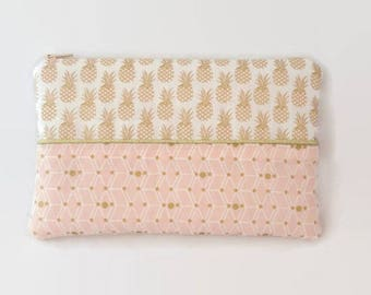 Pineapple fabric pouch and pink powder, white and gold geometric fabric