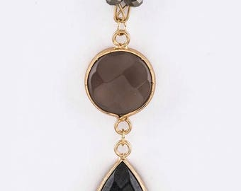 Stone Teardrop Pendant Necklace Gray