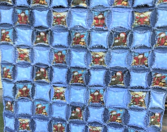 Upcycled Denim Rag Quilt With Snowmen 49x70 Denim : denim circle rag quilt - Adamdwight.com