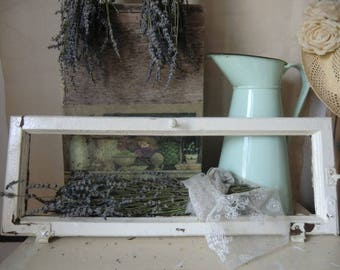 Small vintage window frame without glass french shabby
