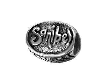 Sanibel Island Sea Shells Large Hole Sterling Silver Bead - Compatible with ALL Popular Bracelet Brands - Made in the USA! - Item #13982