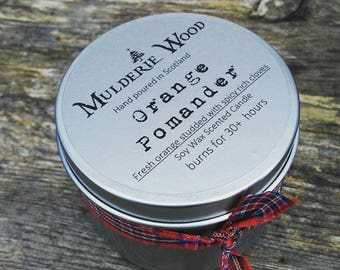 Hand Poured Orange Clove Pomander CHRISTMAS Natural Soy Wax Tin Candle