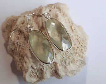 Silver prehnite gemstone earrings, sterling 92.5, free shipping