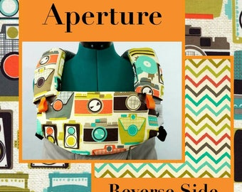 Pre-Order ** Aperture Retro Cameras Lillebaby Carrier Headrest Bib w/ Straight Drool Pads, Fully Reversible 3 Pc. Set