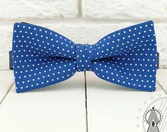Blue Bow Tie, Polka dots on blue, Polka dot bowtie