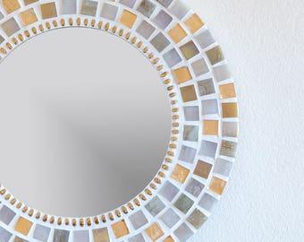 Round Mosaic Wall Mirror in Gold & Cream/Ivory 30cm Hallway Lounge Bathroom Mirror, Gold Wall Decor, Bathroom Wall Decor, Mosaic Wall Art