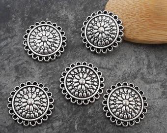 Round flower connectors chandelier ethnic Sun, silver, 15 mm pendant
