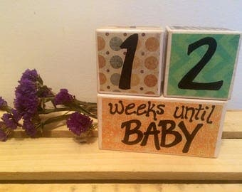 Baby Countdown Blocks, Pregnancy Countdown, Baby Countdown, Baby Shower Gifts