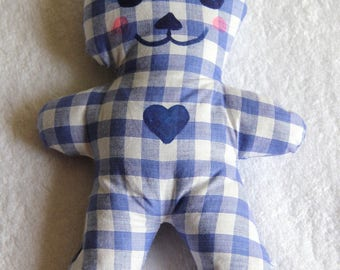 toy in blue and white gingham cotton