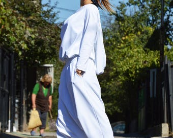 White Drop Crotch Hooded Jumpsuit, Hooded Extravagant Overall, Loose Casual Pants by SSDfashion