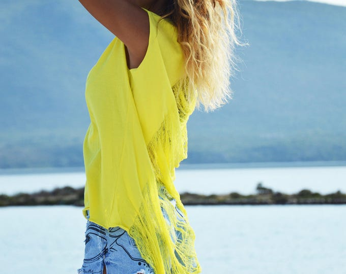 New Yellow Cotton Custom Racer back Top, Extravagant Plus Size Clothing, Loose Casual Top, Fashion Blouse by SSDfashion