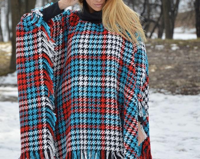 Women's Turtleneck Poncho, Plus Size Coat, Shepherd's Plaid Coat, Wool Sweater Jacket, Cape Coat by SSDfashion