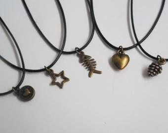 Bronze charm cord choker handmade