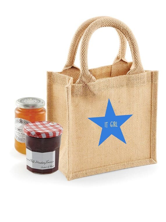 Jute bag different sizes breast-daughter color stars