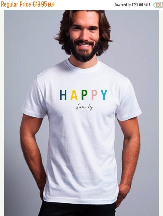 REBAJADO Round neck men short sleeve t-shirt HAPPY