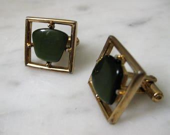Vintage Cufflinks Green Gold Canada Sarah Coventry 1960s Mis Century Modern Mad Men