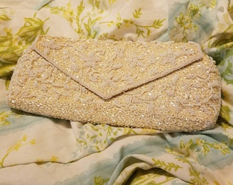 Vintage White Beaded Clutch - Bridal - Brunch - Beautiful