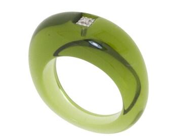 Khaki ring and diamonds