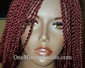 Burgundy Senegalese twists 3-way part. Lace wig