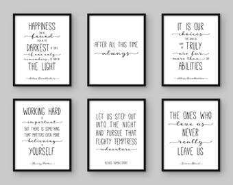 Harry Potter Print. Set of 6. Albus Dumbledore Quote. Happiness. After All This Time. It is our choices. Working Hard. The Ones Who Love Us