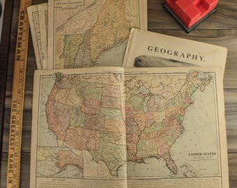 Vintage State Map Etsy - Us map 1884