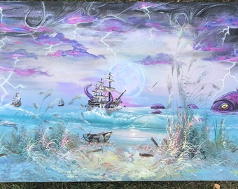 24 x 36 nautical kracken acrylic and oil painting