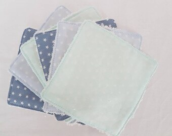 Set of 6 washable wipes made of cotton Poplin oeko tex and organic bamboo * wipes for baby or demaquillante