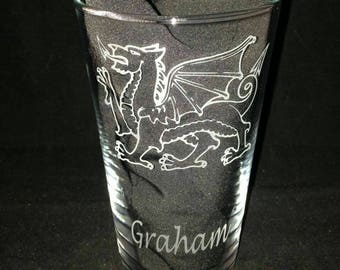 Engraved Welsh Dragon Pint Glass - New - Personalised