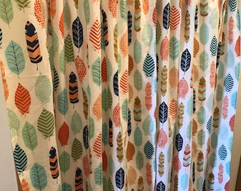 White Coral Mint Navy feather curtain  panels choose size