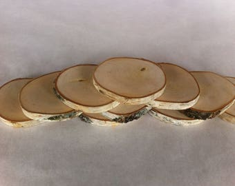 10 Natural wood coasters, Rustic wooden coasters, Coaster set, Wedding coasters, Drink coasters.
