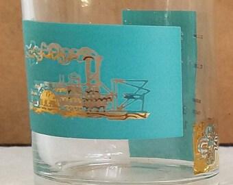 Set of 3 Vintage Libbey Southern Comfort Shot Jigger Glasses Steamboat Riverboat Teal Gold Rim Retro Bar Ware Mid Century Hollywood Regency
