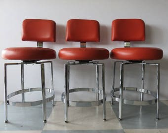 Set Of Three Mid-Century Modern Swivel Chrome And Leather Counter Stools By Tri- : red leather counter stools - islam-shia.org