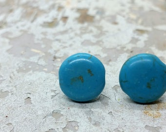 Natural Turquoise Dyed Howlite Stud earrings