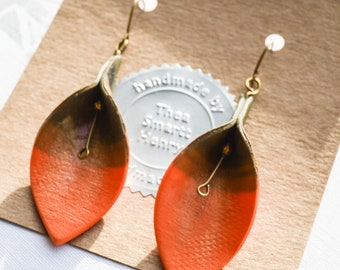 Chocolate Orange Leaf Drop Earrings, Polymer Clay, Drop Earrings, Dangly earrings, Gifts for Her, Gifts for Mum, Birthday Gift, Fimo, Premo