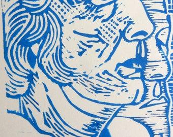 Portrait of Dame Elisabeth Frink Limited Edition Hand Pulled Linocut Original