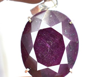 156.60Ct Certified Red Ruby Wonderful Pendant 925 Solid Sterling Silver AU4733