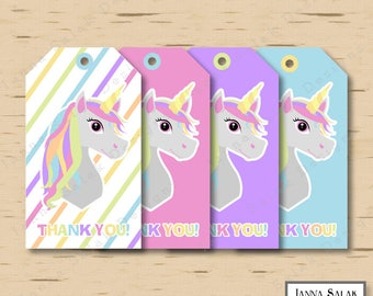 Printable Unicorn Hanging Thank You Favor Tags Pastel Rainbow Birthday Party DIY INSTANT DOWNLOAD UN01
